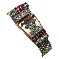 Art Deco Retro Top Hat Diamond Ruby Wittnauer Wristwatch Bracelet 14 Karat Gold