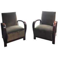 Art Deco Reupholstered Velvet Armchairs