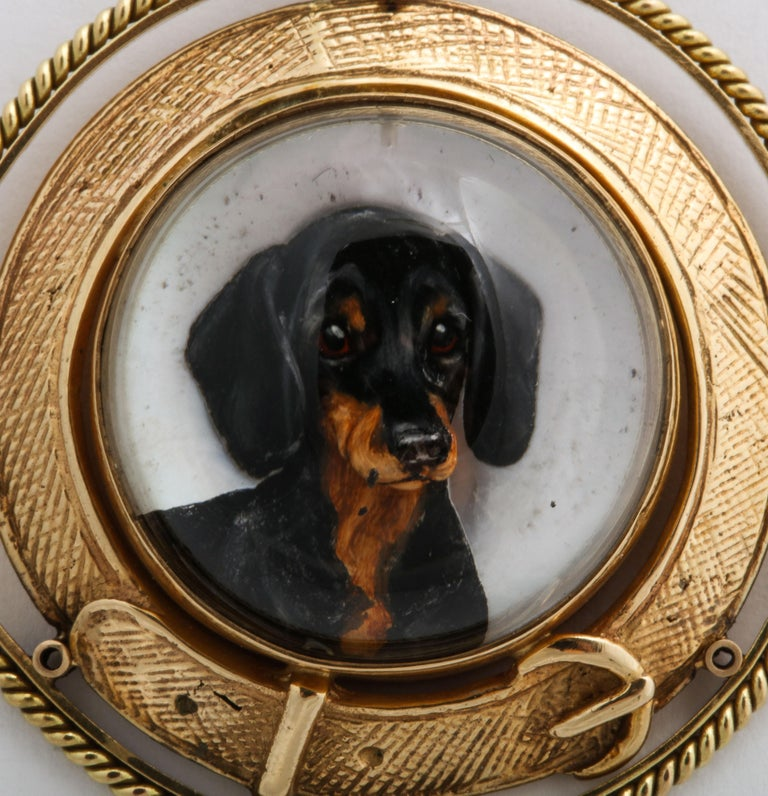 Women's or Men's Art Deco Reverse Crystal Intaglio of a Dachshund For Sale