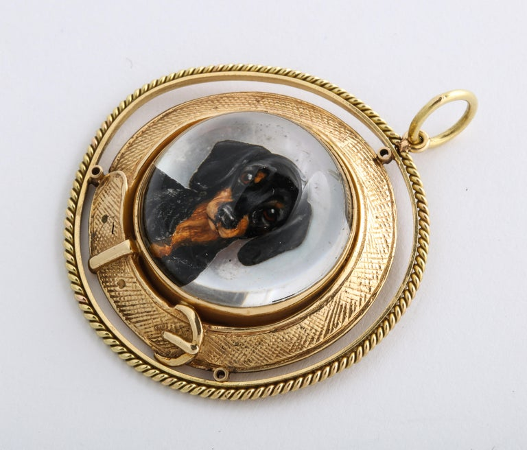 Art Deco Reverse Crystal Intaglio of a Dachshund For Sale 1
