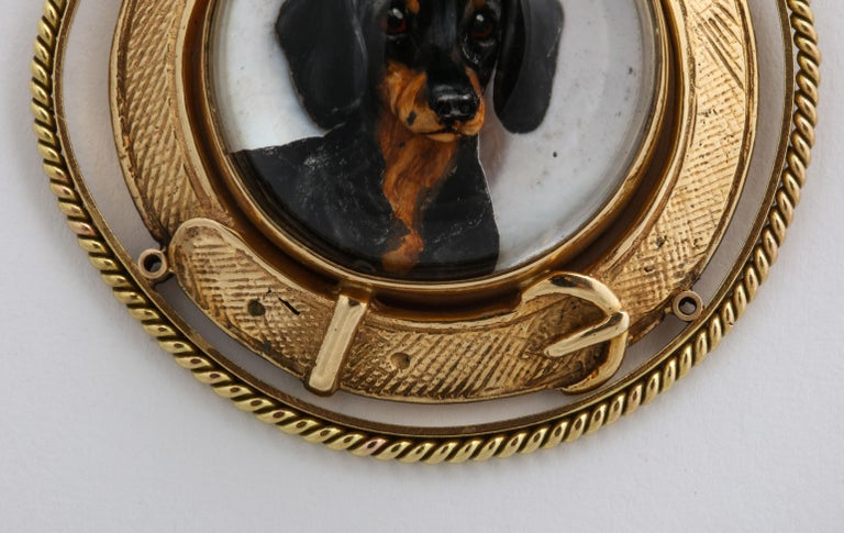 Art Deco Reverse Crystal Intaglio of a Dachshund For Sale 3