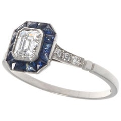 Art Deco Revival 0.48 Carat Diamond Sapphire Platinum Ring