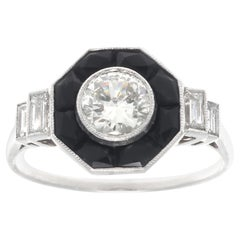Art Deco Revival 0.50 Carat Diamond Onyx Platinum Ring