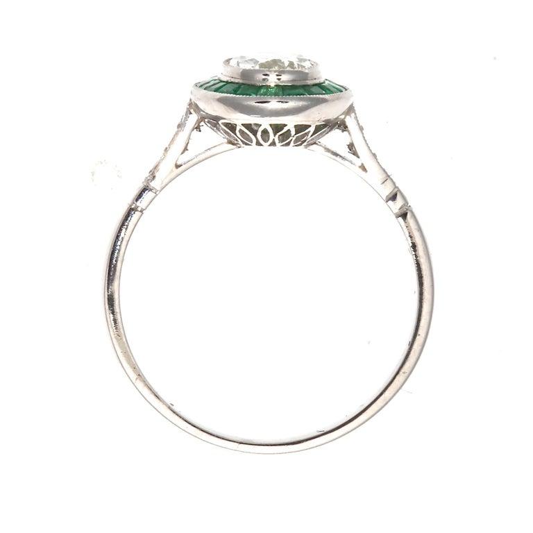 Oval Cut Art Deco Revival 1.01 Carat Diamond Emerald Platinum Engagement Ring For Sale