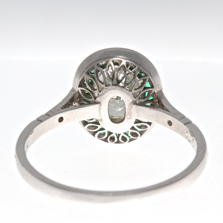 Art Deco Revival 1.01 Carat Diamond Emerald Platinum Engagement Ring In New Condition For Sale In Beverly Hills, CA