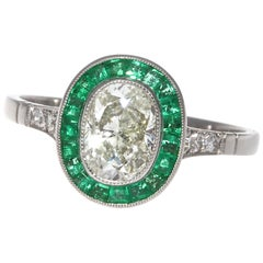 Art Deco Revival 1 Carat Diamond Emerald Platinum Engagement Ring