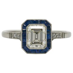 Art Deco Revival 1.01 Emerald Cut Diamond Engagement Ring Sapphire Halo Platinum