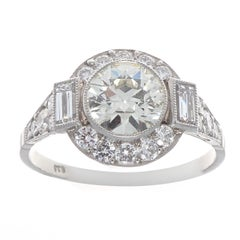 Art Deco Revival 1.04 Carat Diamond Platinum Engagement Ring