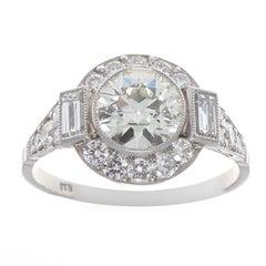Art Deco Revival 1,04 Karat Diamant Platin-Verlobungsring