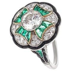 Art Deco Style 1.12 Carat Diamond Emerald Onyx Platinum Cocktail Ring