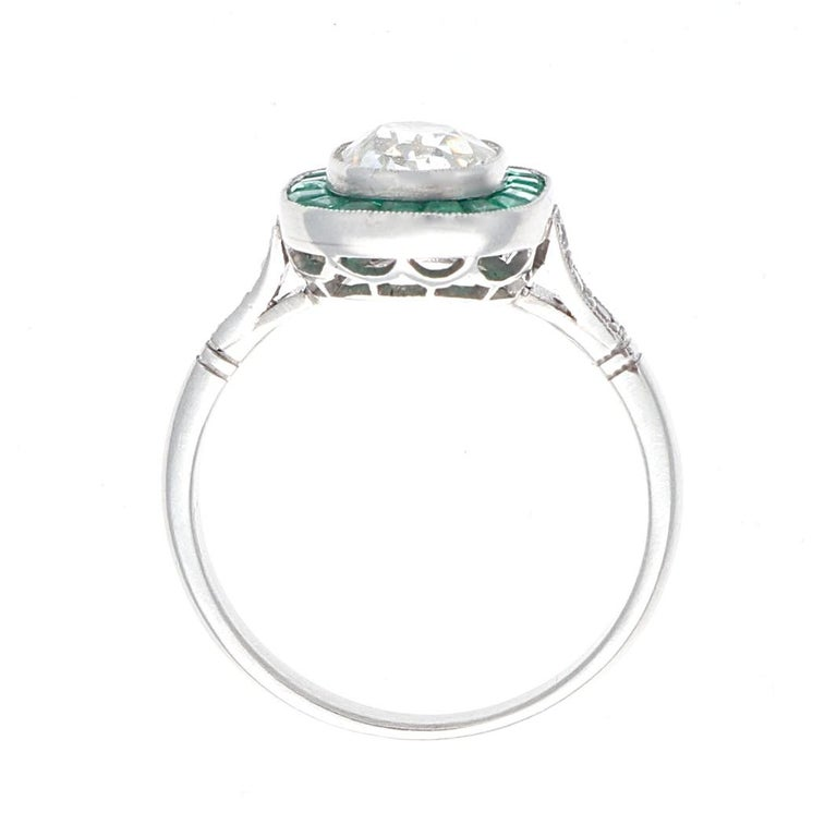 Art Deco Revival 1.22 Carat Old Mine Cut Diamond Emerald Platinum Ring In New Condition In Beverly Hills, CA