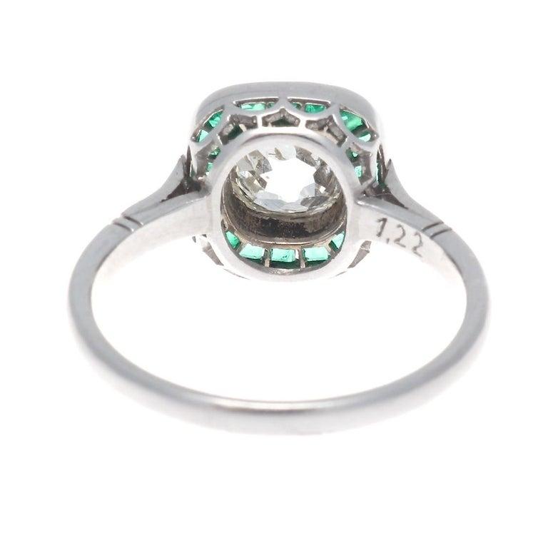 Women's Art Deco Revival 1.22 Carat Old Mine Cut Diamond Emerald Platinum Ring