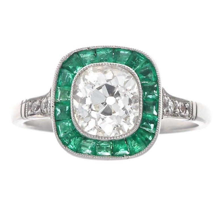 Art Deco Revival 1.22 Carat Old Mine Cut Diamond Emerald Platinum Ring