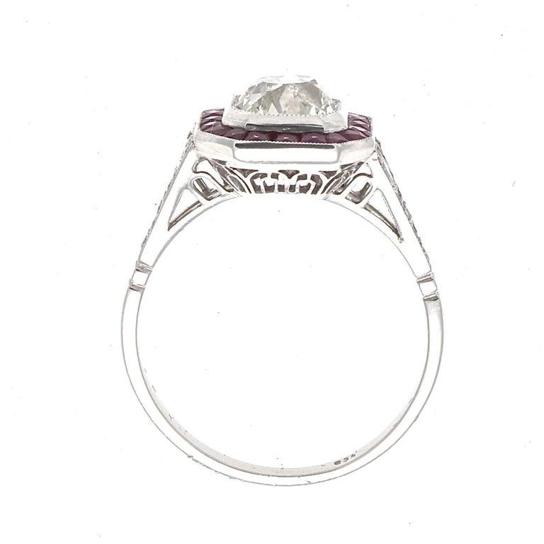 Ruby Engagement Rings For Sale: Art Deco Revival 1.25 Carat Diamond Ruby Platinum