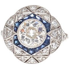 Art Deco Style 1.33 Carat Diamond Sapphire Platinum Engagement Ring