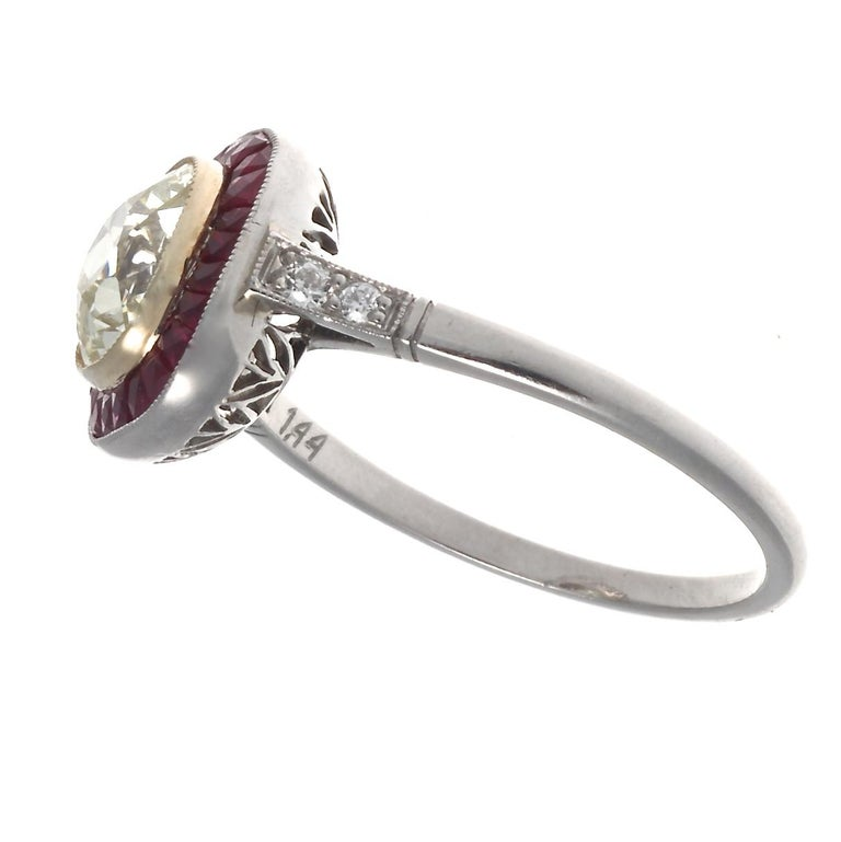 Art Deco Style 1.44 Carat Old Mine Cut Diamond Ruby Platinum Engagement Ring In New Condition For Sale In Beverly Hills, CA