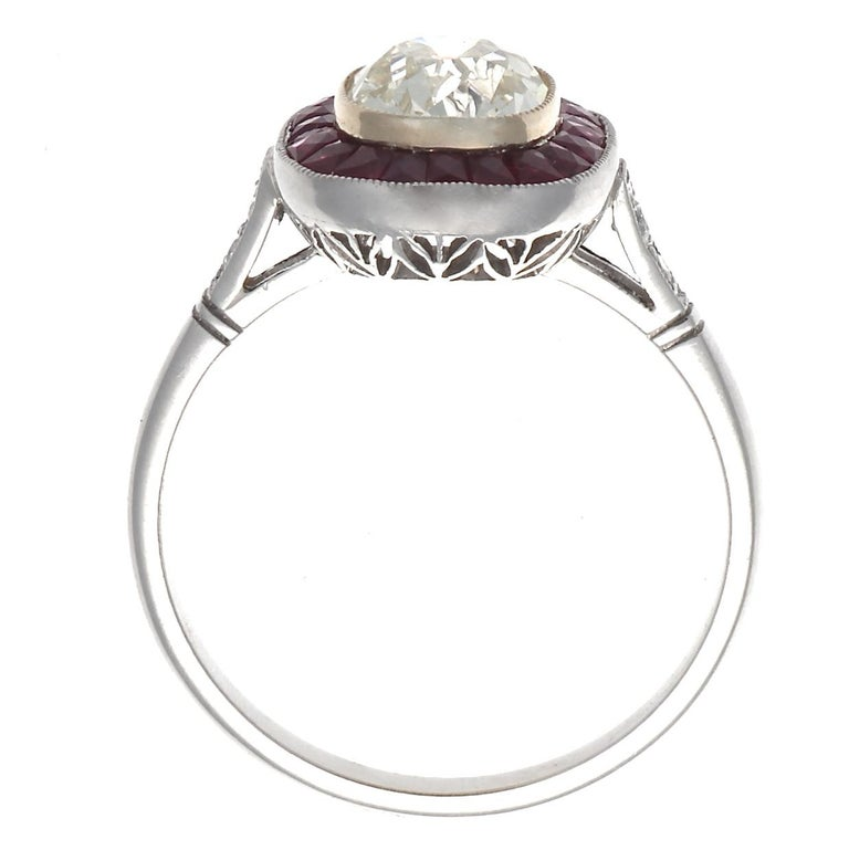 Women's Art Deco Style 1.44 Carat Old Mine Cut Diamond Ruby Platinum Engagement Ring For Sale