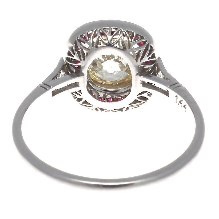 Art Deco Style 1.44 Carat Old Mine Cut Diamond Ruby Platinum Engagement Ring For Sale 1