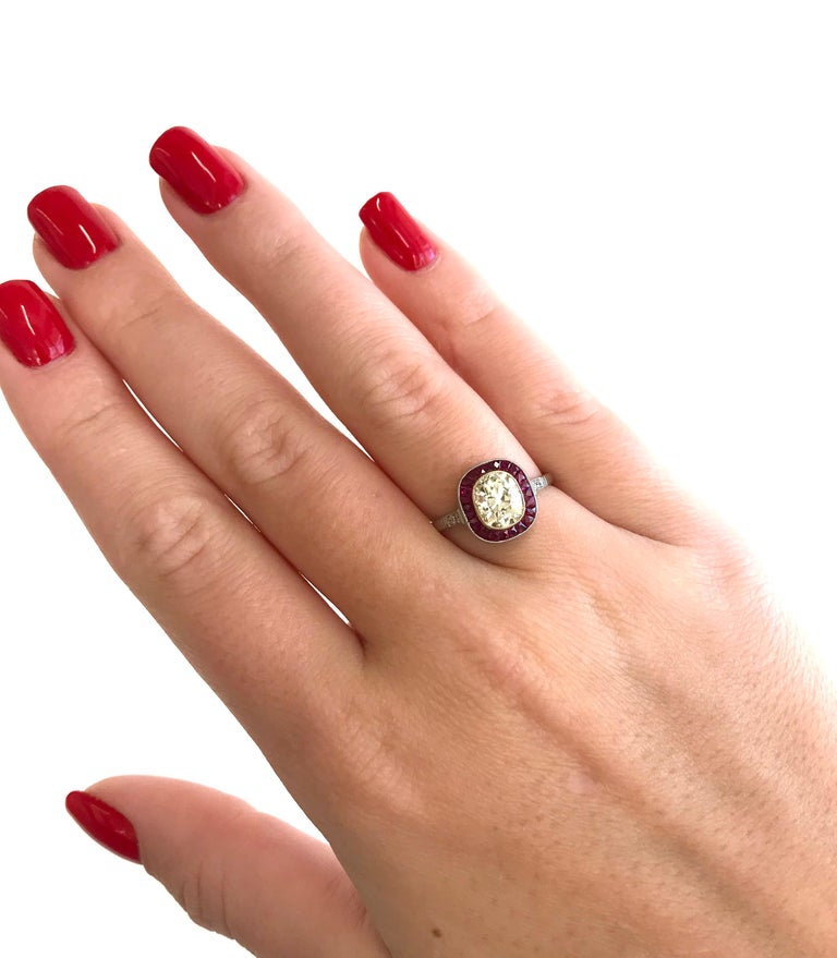 Art Deco Style 1.44 Carat Old Mine Cut Diamond Ruby Platinum Engagement Ring For Sale 2