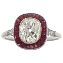Art Deco Revival 1.44 Carat Old Mine Cut Diamond Ruby Platinum Engagement Ring