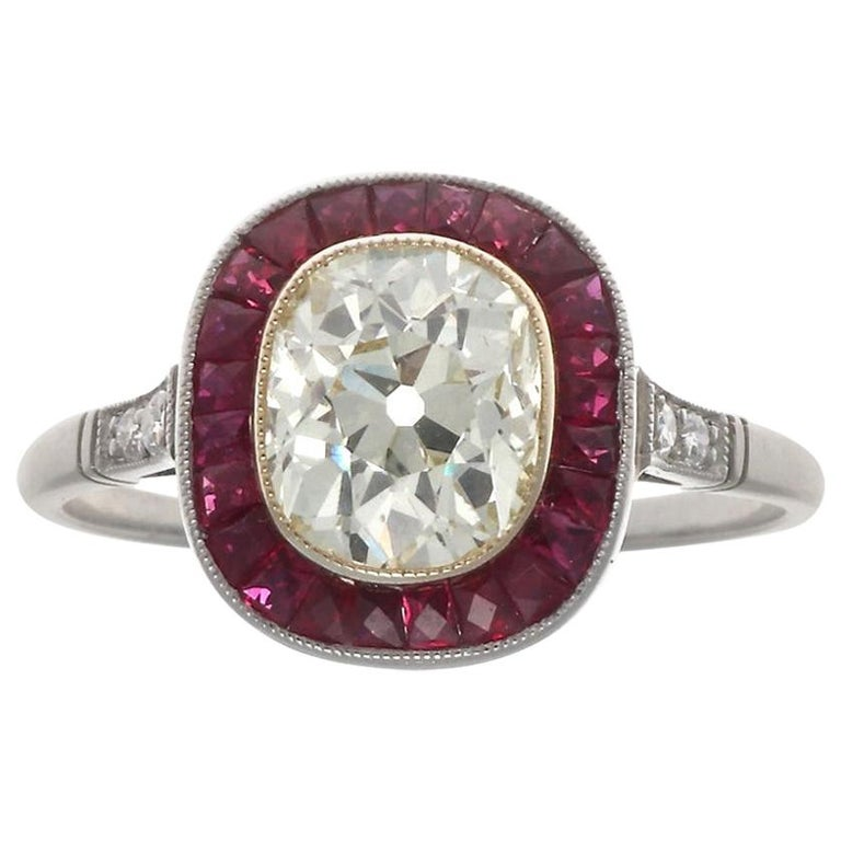 Art Deco Style 1.44 Carat Old Mine Cut Diamond Ruby Platinum Engagement Ring For Sale