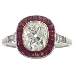 Art Deco Revival 1.44 Carat Old Mine Cut Diamond Ruby Platinum Engagement Ring