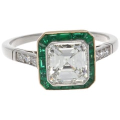 Art Deco Revival 1.54 Carat GIA Diamond Emerald Platinum Engagement Ring