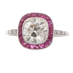 Art Deco Revival 1.84 Carat Diamond Ruby Platinum Engagement Ring