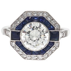 Art Deco Style 2 Carat Diamond Sapphire Platinum Engagement Ring