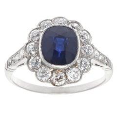 Art Deco Style 2 Carat Sapphire Diamond Platinum Cluster Ring