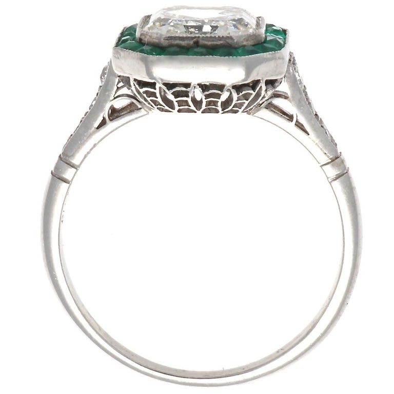 Art Deco Revival 2.00 Carat Asscher Cut Diamond Emerald Platinum Ring In New Condition For Sale In Beverly Hills, CA