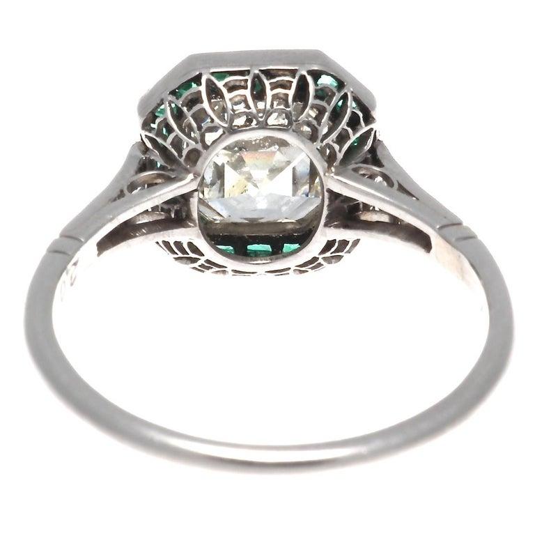 Women's Art Deco Revival 2.00 Carat Asscher Cut Diamond Emerald Platinum Ring For Sale