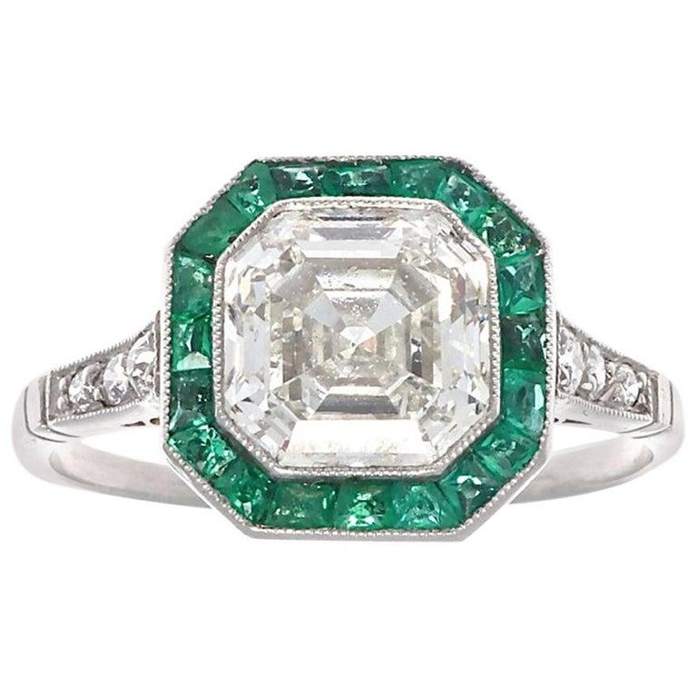 Art Deco Revival 2.00 Carat Asscher Cut Diamond Emerald Platinum Ring For Sale