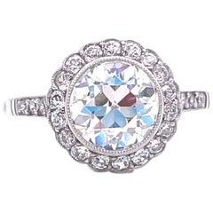 Art Deco Revival 2.18 Carat Old European Cut Diamond Platinum Engagement Ring