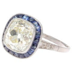 Art Deco Revival 2.75 Carat Old Mine Cut Diamond Platinum Engagement Ring