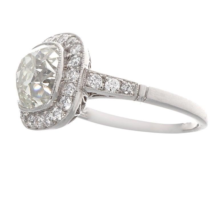 Old Mine Cut Art Deco Revival 2.94 Carat Diamond Platinum Engagement Ring For Sale