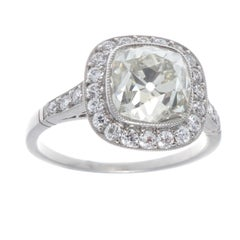 Art Deco Revival 2,94 Karat Diamant Platin Verlobungsring