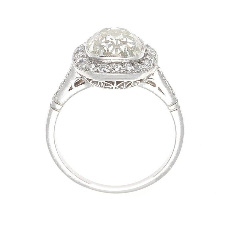 Women's Art Deco Revival 2.94 Carat Old Mine Cut Diamond Platinum Engagement Ring For Sale