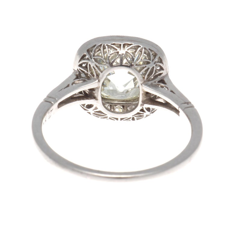 Art Deco Revival 2.94 Carat Old Mine Cut Diamond Platinum Engagement Ring For Sale 1