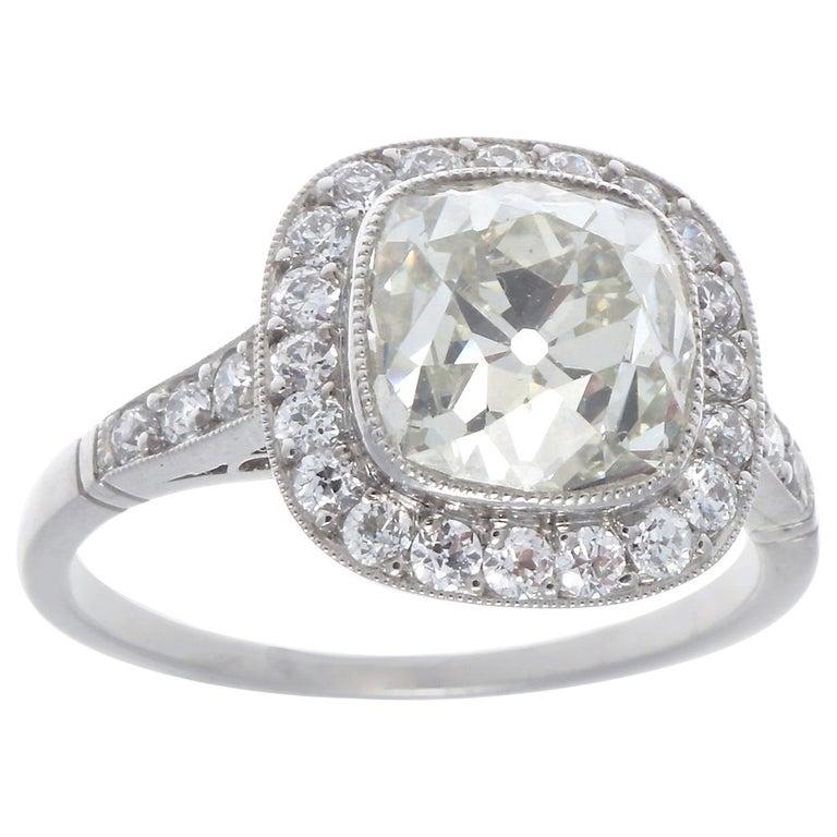 Art Deco Revival 2.94 Carat Old Mine Cut Diamond Platinum Engagement Ring For Sale