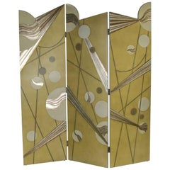 Art Deco Revival 3-Panel Folding Screen or Room Divider Gold Silver and Bronze
