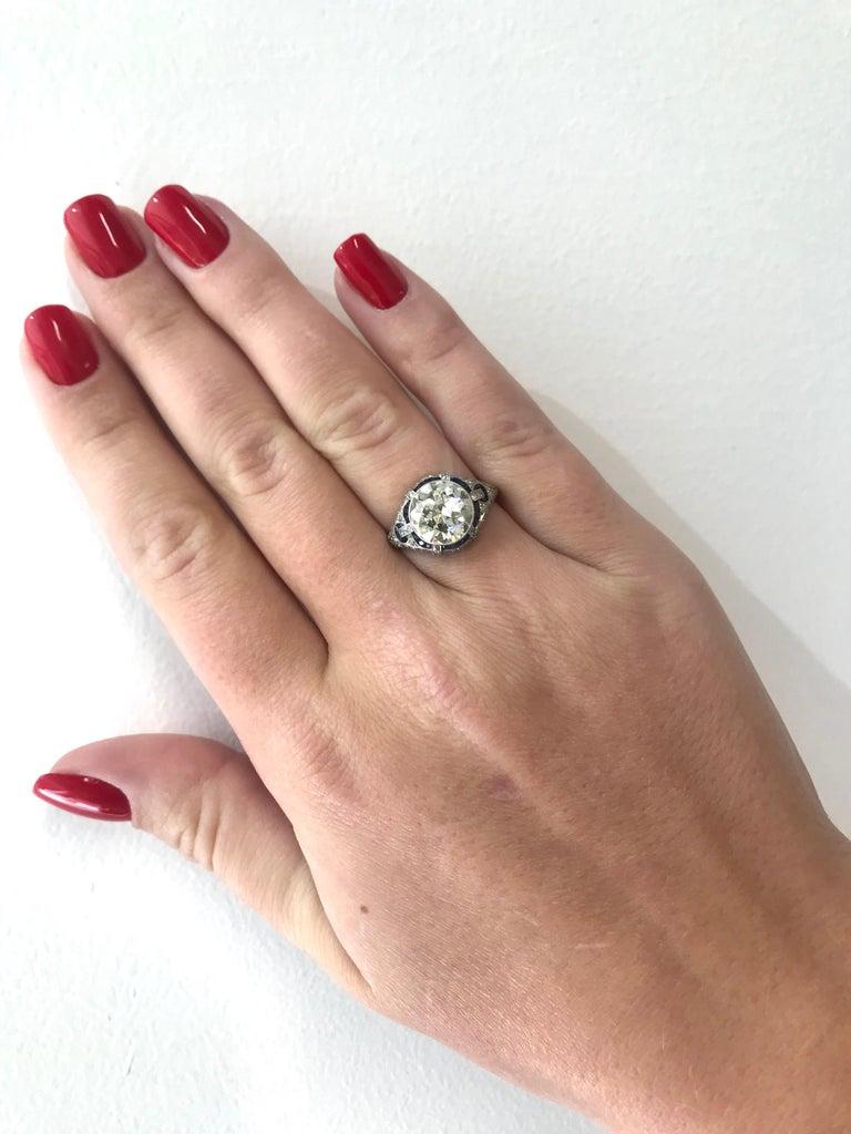 Art Deco Revival 3.31 Carat Diamond Sapphire Platinum Engagement Ring For Sale 5
