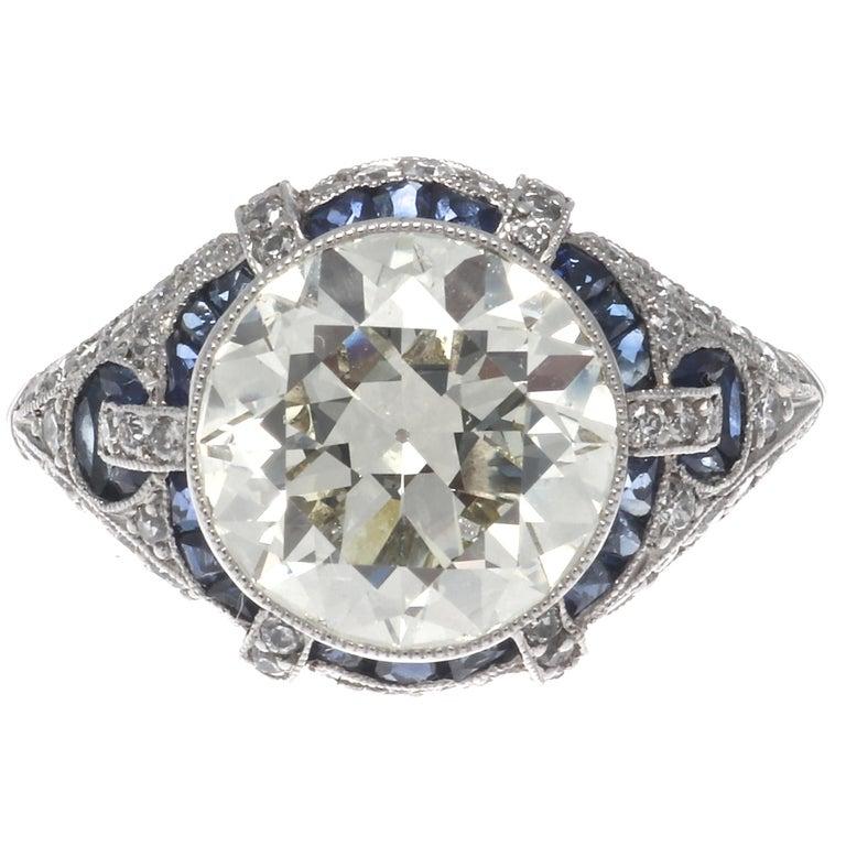 Old European Cut Art Deco Revival 3.31 Carat Diamond Sapphire Platinum Engagement Ring For Sale