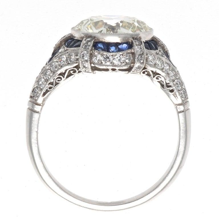 Women's Art Deco Revival 3.31 Carat Diamond Sapphire Platinum Engagement Ring For Sale
