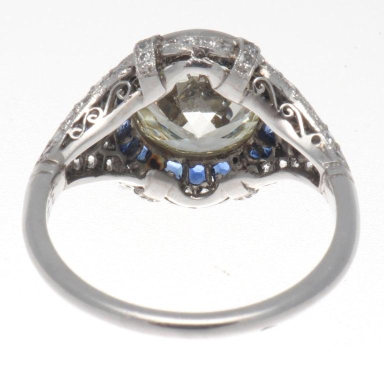 Art Deco Revival 3.31 Carat Diamond Sapphire Platinum Engagement Ring For Sale 1