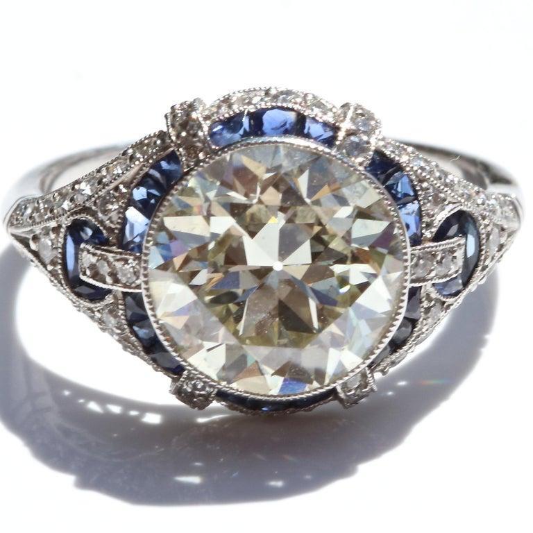 Art Deco Revival 3.31 Carat Diamond Sapphire Platinum Engagement Ring For Sale 2