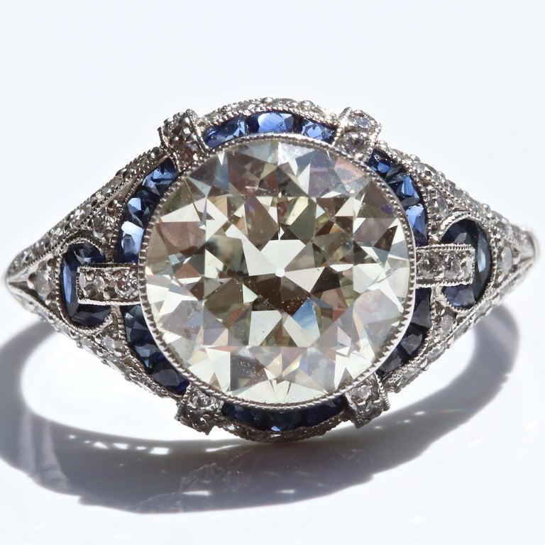 Art Deco Revival 3.31 Carat Diamond Sapphire Platinum Engagement Ring For Sale 3