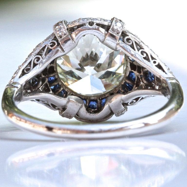 Art Deco Revival 3.31 Carat Diamond Sapphire Platinum Engagement Ring For Sale 4