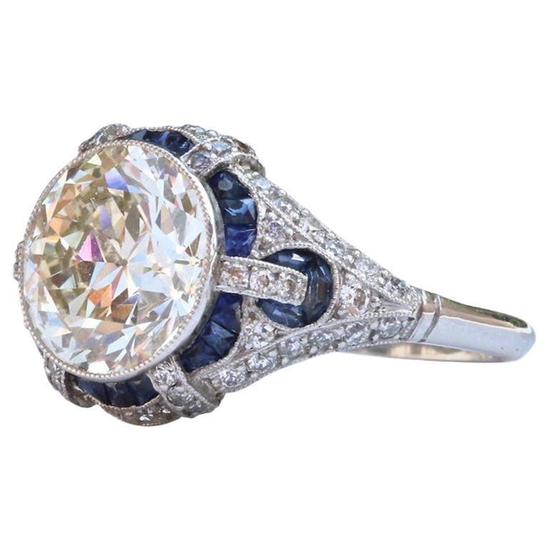 Art Deco Revival 3.31 Carat Diamond Sapphire Platinum Engagement Ring For Sale