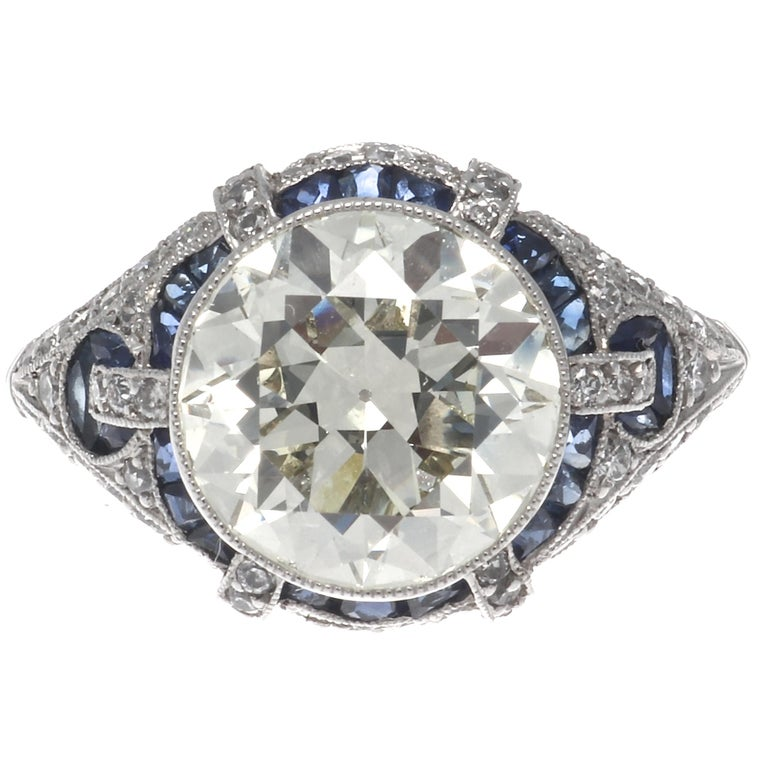 Art Deco Revival 3.31 Carat Old European Cut Diamond Platinum Engagement Ring In New Condition For Sale In Beverly Hills, CA